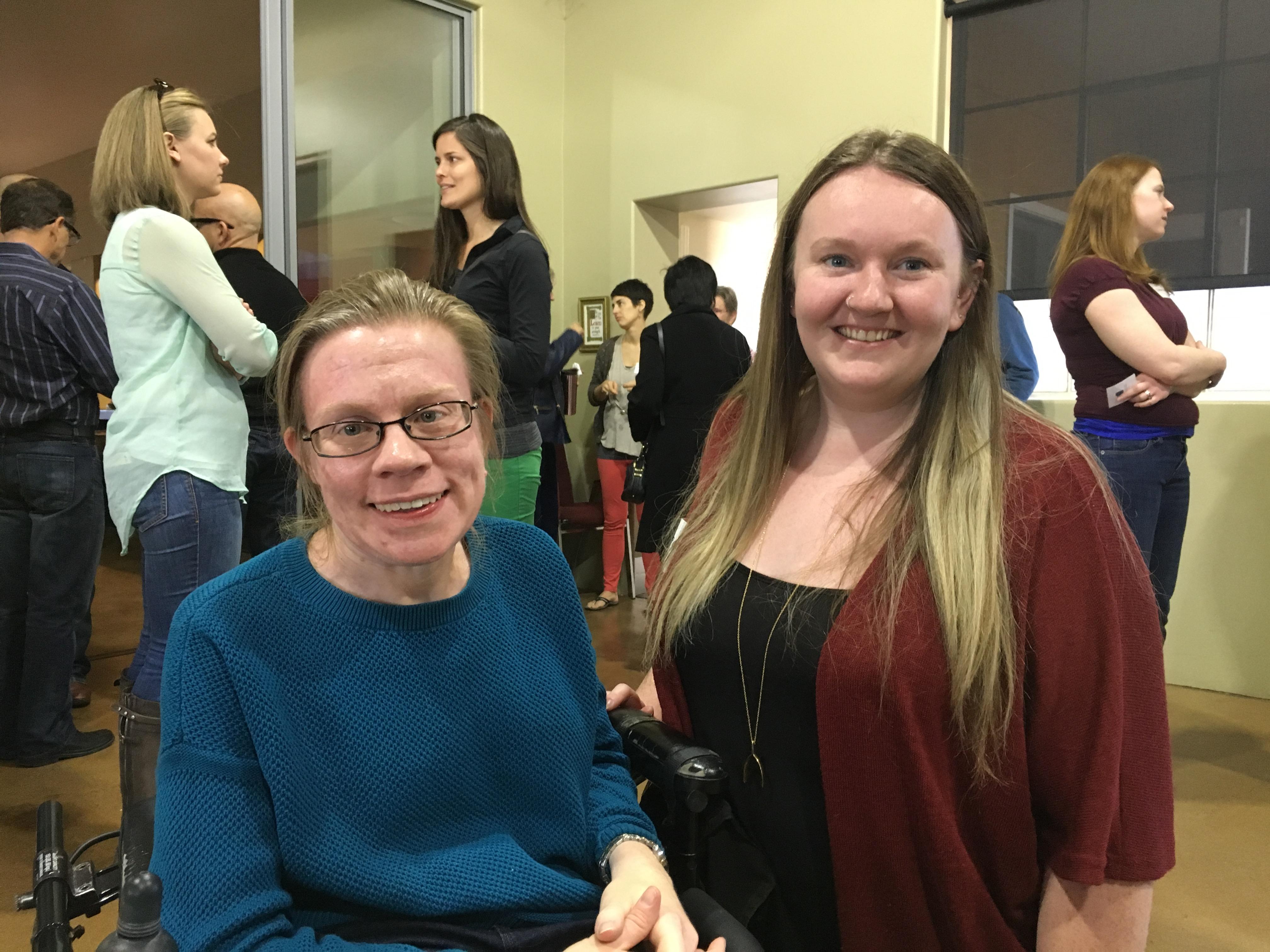 Sarah Potts (right) poses with Kara Kahnke (left).